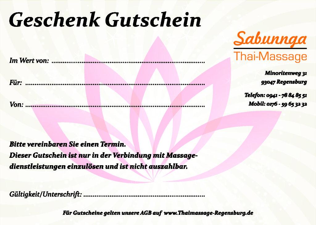 geschenk gutschein 50 euro sabunnga thaimassage sabunnga thaimassage regensburg tel 0941 788. Black Bedroom Furniture Sets. Home Design Ideas